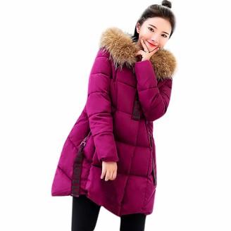 TOPKEAL Coat Women Winter Long Thicker Fur Collar Cotton Parka SlimJacket Ladies Long Sleeve Warm Hooded Outwear (L