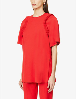 Victoria Victoria Beckham Smocked and frilled-trim woven top