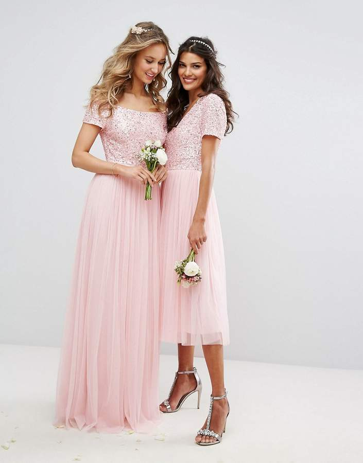 Maya V Neck Midi Dress Dress with Delicate Sequin and Tulle Skirt
