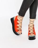 Kat Maconie Eva Vibrant Coral & Multi Lace Flatform Sandals