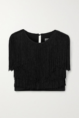 Miguelina Adisa Cropped Fringed Jersey Top - Black