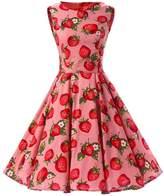 Ensnovo Womens Vintage 1950s Sleeveless Retro Floral Print Spring Swing Dress L
