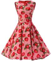Ensnovo Womens Vintage 1950s Sleeveless Retro Floral Print Spring Swing Dress S