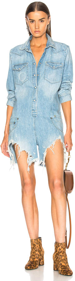 R 13 Cowboy Romper with Shredded Hem