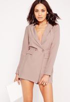 Missguided Tuxedo Style Long Sleeve Romper Nude