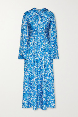 Valentino Tie-neck Printed Silk Midi Dress - Light blue