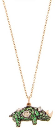 Bibi Van Der Velden - Rhino Diamond, Tsavorite & 18kt Gold Necklace - Green