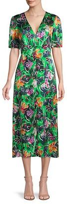 Saloni Eden Sequin Silk Midi Sheath Dress