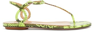 Aquazzura Almost Bare Snake-effect Leather Sandals - Womens - Green