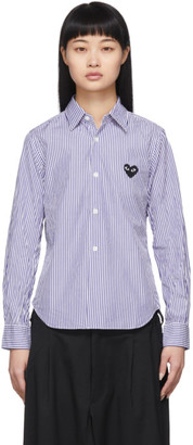 Comme des Garcons Blue and White Striped Small Heart Shirt
