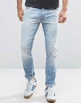 Jack and Jones Intelligence Jeans in Slim Fit Distressed Denim