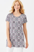 J. Jill Cap-Sleeve Printed Knit Tunic