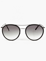 Cutler and Gross Black Leather '1085' Round Aviator Sunglasses
