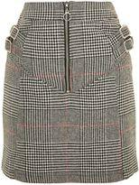 Topshop TALL Check Buckle Peplum Mini Skirt