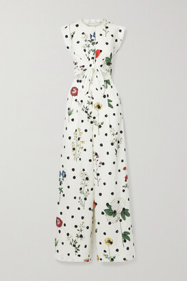 Oscar de la Renta - Cutout Floral-print Cotton-blend Poplin Jumpsuit - Ecru