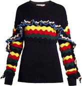 Marni Striped crochet ruffle-trimmed sweater