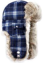 Woolrich Plaid Arctic Trapper Hat with Faux-Fur Earflaps