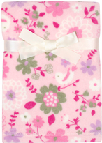 Cutie Pie Baby 30'' x 32'' Pink Floral Velboa Stroller Blanket & Hanger