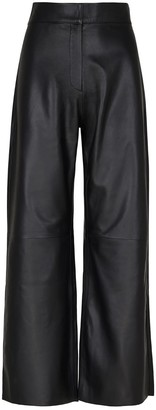 Elle.Sd Cropped Leather Wide Leg Trousers