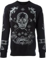 Alexander McQueen tattoo skull embroidered sweatshirt - men - Cotton/Polyester - S