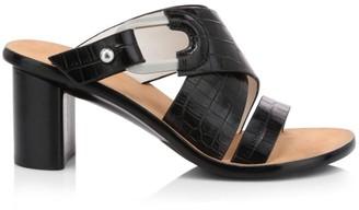 Rag & Bone August Croc-Embossed Leather Block-Heel Mules