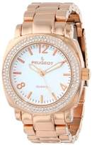 Peugeot Women's 7075RG Boyfriend Oversized Watch with Swarovski Crystal Bezel Metal Link Watch Bracelet