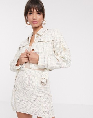 Asos Design DESIGN exaggerated sleeve boucle suit blazer with pocket detail-White