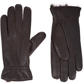 Barneys New York Men's Fur-Lined Gloves-BROWN