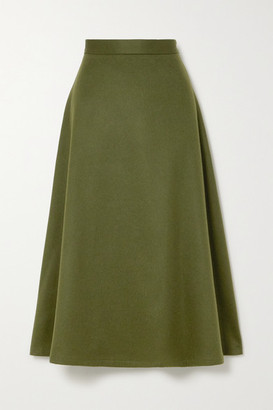 Giuliva Heritage Collection The Ada Herringbone Camel Hair Midi Skirt - Army green