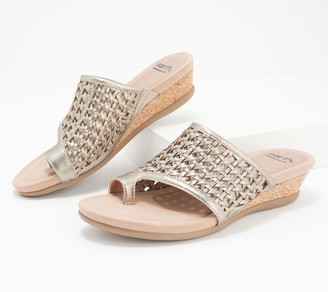 Earth Leather Wedge Slide Sandals - Pisa Wellfleet
