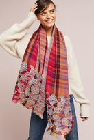 Anthropologie Textured Wool Plaid Scarf