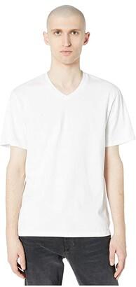 Vince Garment Dye Short Sleeve V-Neck Tee (Optic White) Men's Clothing