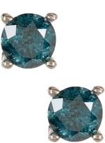 Sterling Silver Blue Diamond Stud Earrings - 0.50 ctw