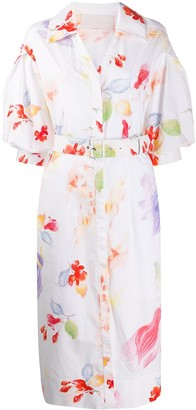 Peter Pilotto Floral Print Belted Shirt Dress