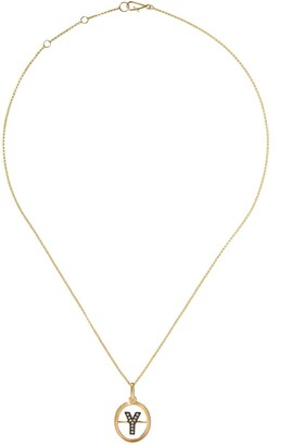 Annoushka 18kt yellow gold diamond initial Y necklace