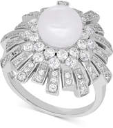 Arabella Cultured Freshwater Pearl (8mm) & Swarovski Zirconia Ring in Sterling Silver, Only at Macy's