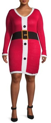 No Boundaries Nb Santa Bodycon Dress W/ Buttons