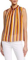 Frame Sleeveless Striped Raglan Top