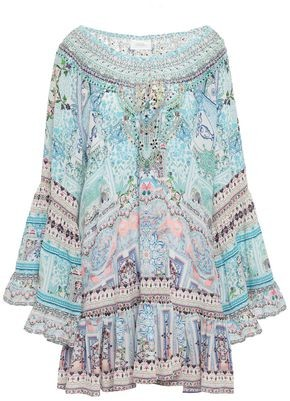 Camilla Off-the-shoulder Embellished Printed Silk Crepe De Chine Mini Dress