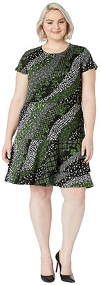 MICHAEL Michael Kors Size Bias Collage Double Tier Dress (Evergreen) Women's Clothing