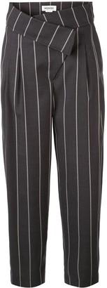 Monse Pinstripe Foldover-Waist Tailored Trousers
