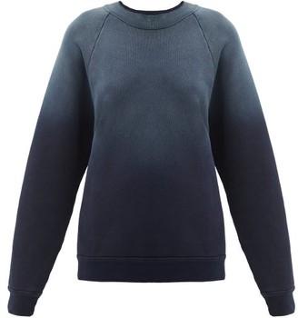 LES TIEN High-neck Ombre Brushed-back Cotton Sweatshirt - Navy