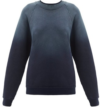 LES TIEN Ombre-dyed Cotton-jersey Sweatshirt - Navy
