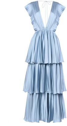 True Decadence Light Blue Pleated Tiered Midaxi Dress