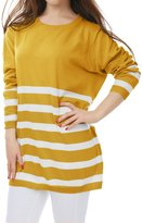 Allegra K Women Long Sleeves Stripes Loose Tunic Knit Shirt L Grey