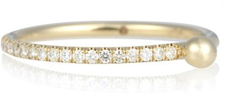 Aligned Stack 14kt gold and diamond ring