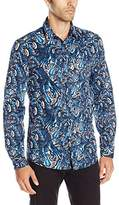 Just Cavalli Men's Kaleido Scop Print Pointed Collar Button Down Shirt