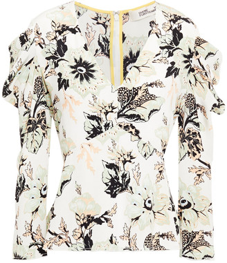 Diane von Furstenberg Gathered Floral-print Silk Crepe De Chine Top