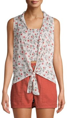 No Boundaries Juniors' Sleeveless Tie Front Top 2fer with Smocked Tube Top