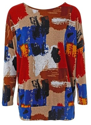 Dorothy Perkins Womens *Izabel London Beige Brushstroke Print Jumper, Beige